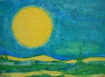 Acrylbild SUN VALLEY Acrylmalerei Gemälde abstrakte Kunst Wanddekoration abstrakte Landschaft Gemälde Malerei Handarbeit Handsigniert   - Handarbeit kaufen