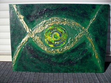 Acrylbild GOLDEN EYE Acrylmalerei Gemälde abstrakte Kunst Wanddekoration  Bild Malerei moderne Kunst grünes Gemälde - Handarbeit kaufen