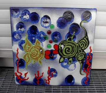 Acrylbild FISCHPALAVER Acrylmalerei Kinderzimmerbild Kunst Malerei Gemälde auf Leinwand Handarbeit Geschenk zur Geburt Fische  - Handarbeit kaufen