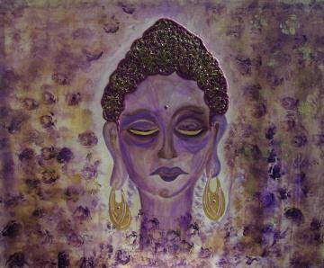 Acrylbild ERWACHENDER BUDDHA Acrylmalerei Gemälde Wanddeko abstrakte Kunst Malerei  abstraktes Bild lila Gemälde purpur asiatisch