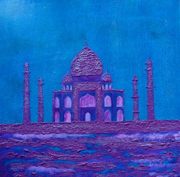 Acrylbild TAJ MAHAL Malerei Gemälde Acrylgemälde Bild Handgemalt Unikat abstrakte Malerei naive Malerei Buddha orientalisches indisches  Bild
