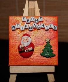 Weihnachtsmann Nikolaus Tischdeko Minibild Collage Deko Weihnachtsgeschenk  Adventskalenderfüllung  - Handarbeit kaufen