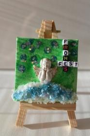 Tischdeko Minibild inkl. Staffelei Collage Deko Weihnachtsgeschenk Adventskalenderfüllung - Handarbeit kaufen