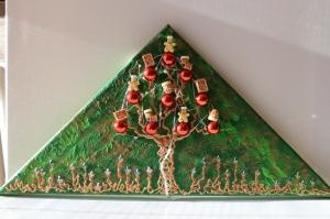 Wanddeko PFEFFERKUCHEN-BÄUMCHEN Weihnachtsbaum Weihnachtsdeko Wanddeko Christbaum Künstlerbaum mit LED-Beleuchtung    - Handarbeit kaufen