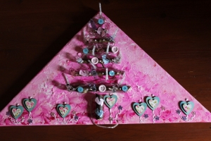 Wanddeko BABY-BAUM Weihnachtsbaum Weihnachtsdeko Wanddeko Christbaum Künstlerbaum mit LED-Beleuchtung   - Handarbeit kaufen