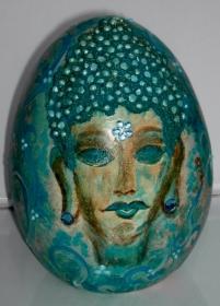 Ostergeschenk BUDDHA TÜRKIS Skulptur Dekoei Künstler-Ei Dekofigur Ei  Osterei Osterdeko - Handarbeit kaufen