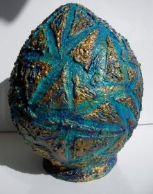 XL EI Dekoei BLUE EI Osterei Ei Ostergeschenk Kunst Skulptur Künstler-Ei Handarbeit - Handarbeit kaufen