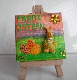 Minibild Collage  FROHE OSTERN Geschenk zu Ostern Osterdeko  Deko Hase Minikeilrahmen  - Handarbeit kaufen