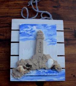Collage LEUCHTTURM Sandbild Maritime Deko Muschelbild Geschenk Muttertag Valentinstag  Shabby  - Handarbeit kaufen