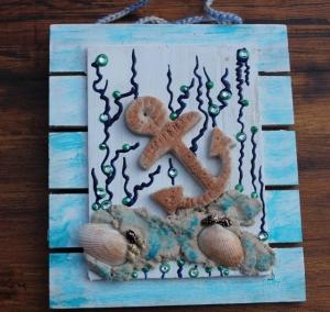 Collage UNTER WASSER Sandbild Maritime Deko Muschelbild Geschenk Muttertag Valentinstag  Shabby  - Handarbeit kaufen