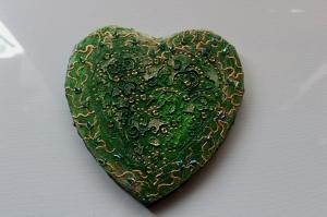 Herzbild BAROCK IN GRÜN Valentinstag Geschenk Muttertag Acrylbild Collage Bild auf Keilrahmen   - Handarbeit kaufen