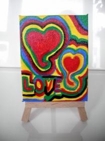 Acrylbild LOVE Acrylmalerei Herzbild abstrakte Malerei Minibild Keilrahmen Staffelei Muttertag Valentinstag - Handarbeit kaufen