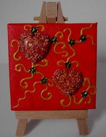 Collage LOVE Acrylmalerei Herzbild abstrakte Malerei Minibild Keilrahmen Staffelei Muttertag Valentinstag