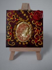 Acrylbild VALENTINA Acrylmalerei Herzbild Collage Malerei Minibild Keilrahmen Staffelei Muttertag Valentinstag