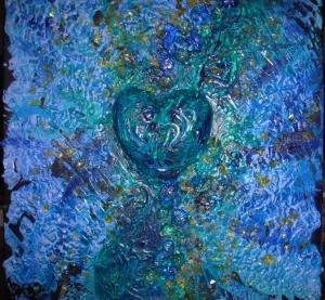 Acrylbild DEEP BLUE HEART Geschenk Valentinstag  Muttertag Malerei Kunst Unikat Keilrahmen Herzbild