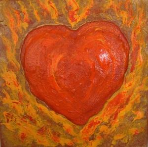 Acrylbild FLAMMENDES HERZ Geschenk Valentinstag Muttertag  Malerei Kunst Unikat Keilrahmen Herzbild  - Handarbeit kaufen