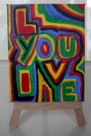 Acrylbild I LOVE YOU Acrylmalerei Herzbild abstrakte Malerei Minibild Keilrahmen Staffelei Geschenk Vatertag Muttertag Valentinstag