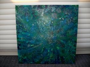 Acrylbild SILBERREGEN Acrylmalerei Gemälde abstrakte Kunst Leinwand grünes Bild Malerei   - Handarbeit kaufen