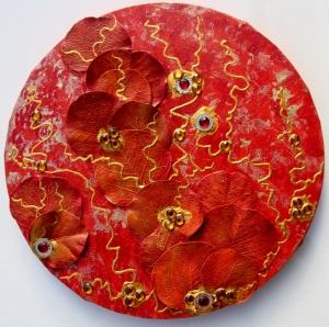 Acrylbild  LEUCHTENDER HERBST Gemälde Malerei rundes Gemälde Geschenk rotes Bild abstrakte Kunst Acrylmalerei