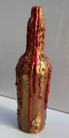 Dekoflasche DRACHENBLUT Upcycling Flasche Flaschenkunst Dekoration Collage  Herbstdeko  - Handarbeit kaufen