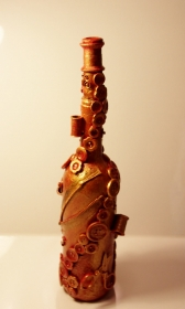 Dekoflasche NÄHPARADIES Upcycling Flasche Flaschenkunst Dekoration Collage  Geschenk Valentinstag Geburtstag Muttertag - Handarbeit kaufen
