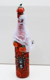 Dekoflasche HALLOWEEN Upcycling Flasche Flaschenkunst Dekoration Collage  Herbstdeko Halloweendeko - Handarbeit kaufen