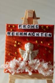 Minibild FROHE WEIHNACHTEN Engel Tischdeko Minibild Collage Deko Weihnachtsgeschenk  Adventskalenderfüllung   - Handarbeit kaufen