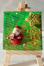 Adventskalenderfüllung  FROHES FEST Weihnachtsgeschenk Tischdeko Minibild Collage Deko Weihnachtsdeko  - Handarbeit kaufen