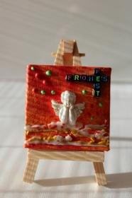 Minibild FROHES FEST Engel Tischdeko Minibild Collage Deko Weihnachtsgeschenk  Adventskalenderfüllung  - Handarbeit kaufen