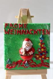 Minibild FROHE WEIHNACHTEN Nikolaus Tischdeko Minibild Collage Deko Weihnachtsgeschenk  Adventskalenderfüllung Weihnachtsmann - Handarbeit kaufen