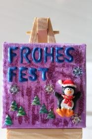 Minibild FROHES FEST Tischdeko Pinguin Minibild Collage Deko Weihnachtsgeschenk  Adventskalenderfüllung   - Handarbeit kaufen