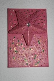 Collage ROSA STERNENGLÜCK Acrylmalerei Deko Weihnachtsgeschenk Stern Malerei Weihnachtsdeko  - Handarbeit kaufen