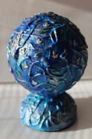 Dekokugel KUGELZAUBER IN BLAU Acrylmalerei Deko Weihnachtsgeschenk Weihnachtskugel Malerei Weihnachtsdeko  - Handarbeit kaufen