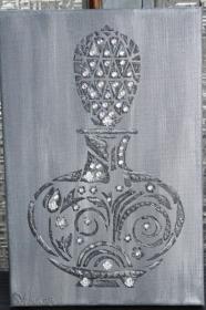 Acrylbild FLACON IN GRAU Dekoration Collage  Parfumflacon graues Bild Parfumfläschchen Geschenk Muttertag - Handarbeit kaufen
