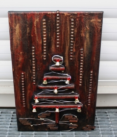 Wanddeko INDUSTRIAL-CHRISTMAS Weihnachtsbaum Weihnachtsdeko Wanddeko Christbaum Künstlerbaum mit LED-Beleuchtung   - Handarbeit kaufen