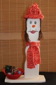 Schneemann STRICKLIESL Figur Herbstdeko Künstlerfigur Winterdeko Geschenk   - Handarbeit kaufen
