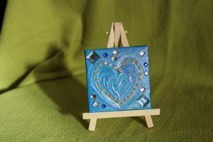 Minibild ZARTBLAUES HERZ  Acrylmalerei Keilrahmen Staffelei Geschenk zu Ostern Muttertag Valentinstag für Verliebte  - Handarbeit kaufen