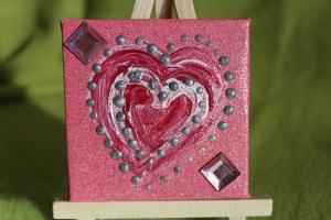 Minibild ROSA HERZ Acrylmalerei Keilrahmen Staffelei Geschenk zu Muttertag Valentinstag für Verliebte  - Handarbeit kaufen