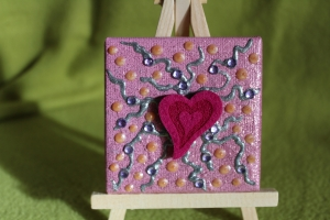 Minibild FILZHERZERL  Acrylmalerei Keilrahmen Staffelei Geschenk zu Muttertag Valentinstag für Verliebte   - Handarbeit kaufen