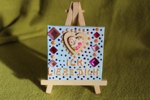 Minibild ICH LIEBE DICH Acrylmalerei Keilrahmen Staffelei Geschenk zu Muttertag Valentinstag für Verliebte  - Handarbeit kaufen