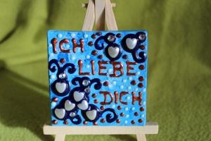 Minibild HERZERLREGEN  Acrylmalerei Keilrahmen Staffelei Geschenk zu Muttertag Valentinstag für Verliebte  - Handarbeit kaufen