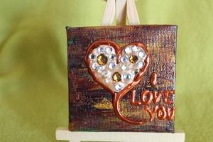 Minibild I LOVE YOU Acrylmalerei Keilrahmen Staffelei Geschenk zu Muttertag Valentinstag für Verliebte   - Handarbeit kaufen
