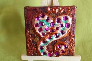 Minibild LOVE LOVE LOVE Acrylmalerei Keilrahmen Staffelei Geschenk zu Muttertag Valentinstag für Verliebte   - Handarbeit kaufen