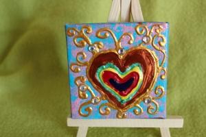Minibild REGENBOGENHERZERL Acrylmalerei Keilrahmen Staffelei Geschenk zu Muttertag Valentinstag für Verliebte    - Handarbeit kaufen