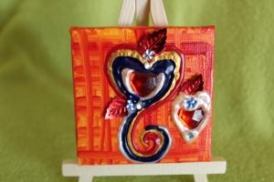 Minibild HERZERL Acrylmalerei Keilrahmen Staffelei Geschenk zu Muttertag Valentinstag für Verliebte    - Handarbeit kaufen