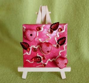 Minibild DREI HERZERL Acrylmalerei Keilrahmen Staffelei Geschenk zu Muttertag Valentinstag für Verliebte     - Handarbeit kaufen