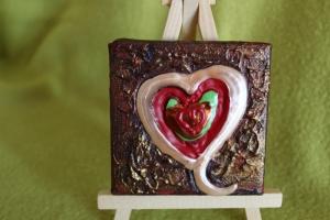 Minibild PASTELLHERZ  Acrylmalerei Keilrahmen Staffelei Geschenk zu Muttertag Valentinstag für Verliebte - Handarbeit kaufen