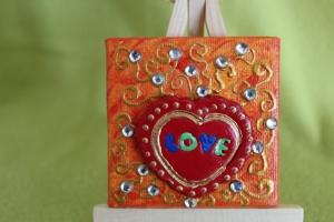 Minibild LOVE  Acrylmalerei Keilrahmen Staffelei Geschenk zu Muttertag Valentinstag für Verliebte  - Handarbeit kaufen