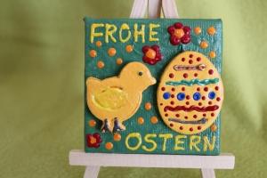 Minibild Collage  FROHE OSTERN Geschenk zu Ostern Osterdeko  Deko Küken Osterei Minikeilrahmen - Handarbeit kaufen