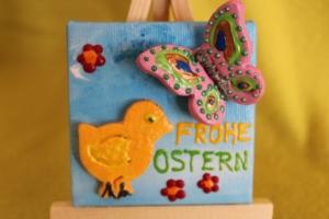 Minibild Collage  FROHE OSTERN Geschenk zu Ostern Osterdeko  Deko Küken Minikeilrahmen Schmetterling  - Handarbeit kaufen